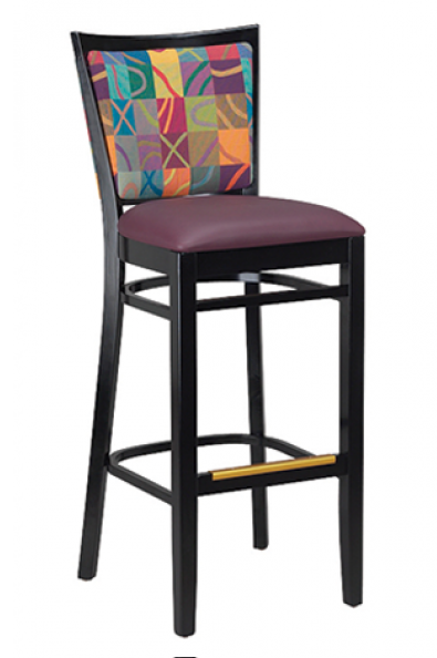 Checker Beechwood Barstool w/ Exposed Grid Back, GA9650