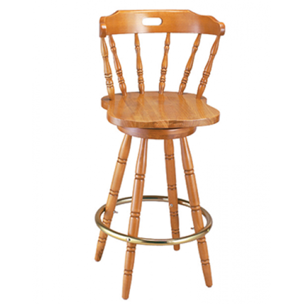 Colonial Beechwood Swivel Barstool w/ Handhold Spoke Back, GA9850