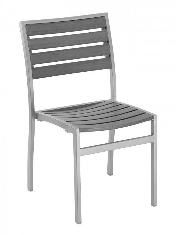 Aluminum Box Frame with Teak Back and Seat  Stackable Chair, Cedar Key Series