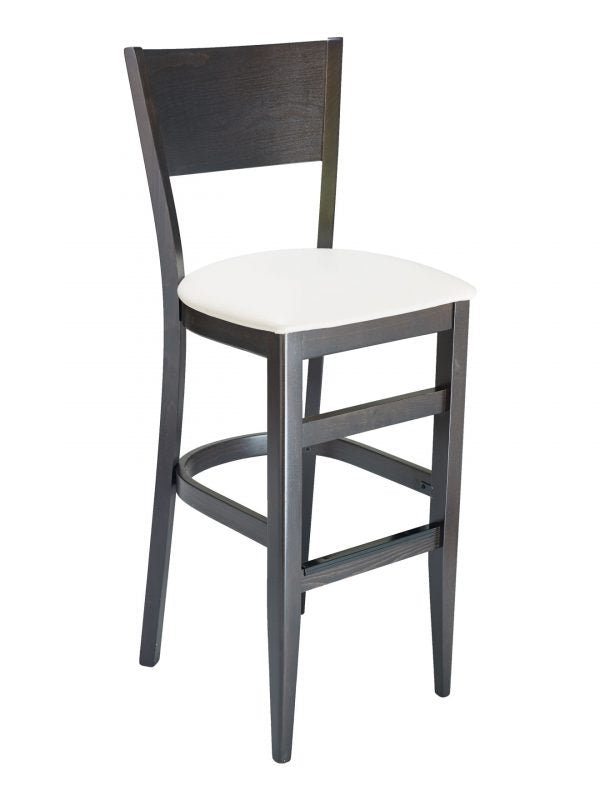 Beechwood Walnut Finish Solid Back Barstool with Upholstered Seat, FLSCON01B