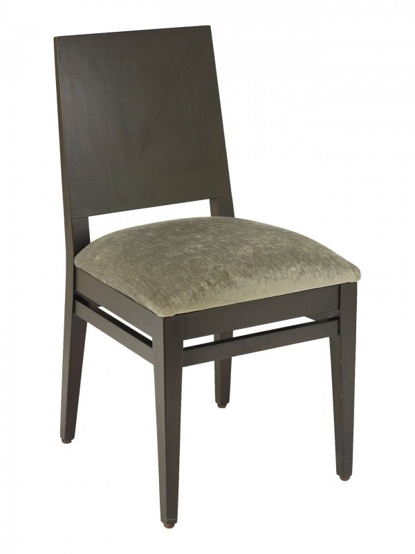 Beechwood Solid Back Chair with Upholstered Seat, FLSCON04S