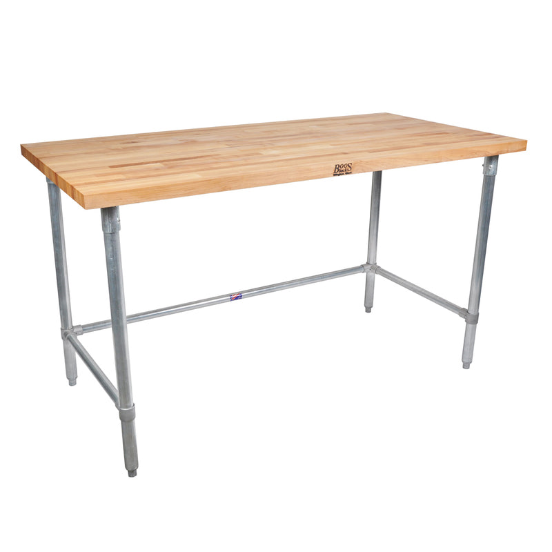 Maple Top Work Table w/ Galvanized Base and Bracing from John Boos