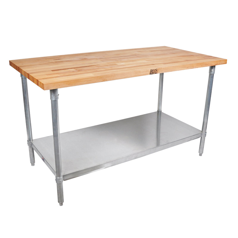 Maple Butcher Block Top Work Table w/ Galvanized Base and Shelf from John Boos