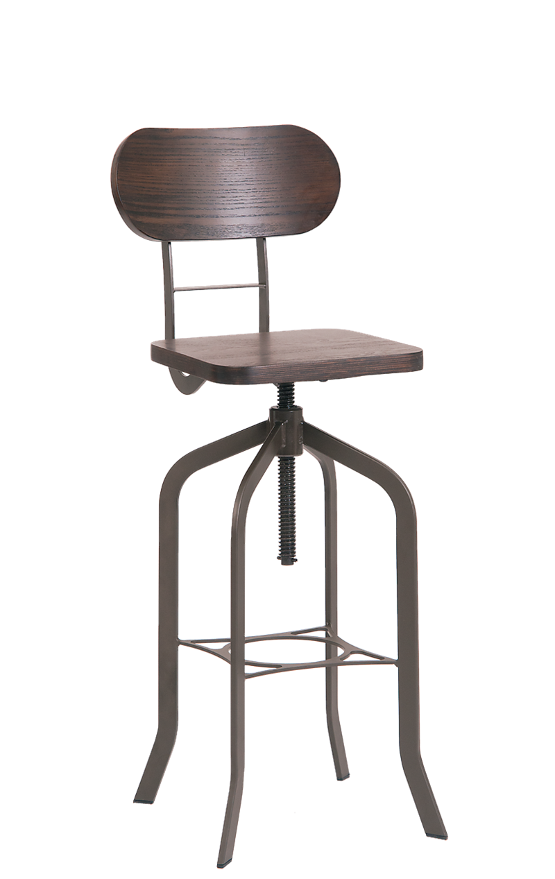 Indoor Steel Swivel Barstool with Walnut Veneer Back, ERF-M504