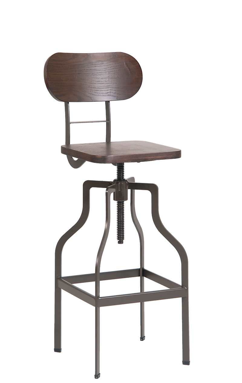 Indoor Steel Swivel Barstool with Walnut Veneer Back, ERF-M505