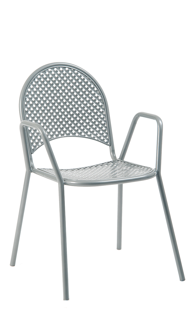 Grey Metal Powder Coated Outdoor Chair, ERF-OF-01-G