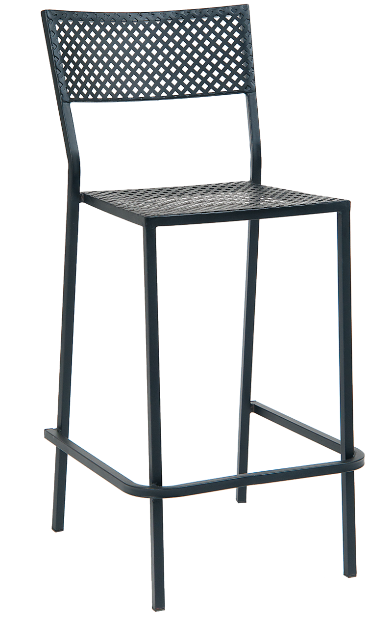 Black Iron Stackable Barstool with Punched Square Hole, ERF-OF-05-BS