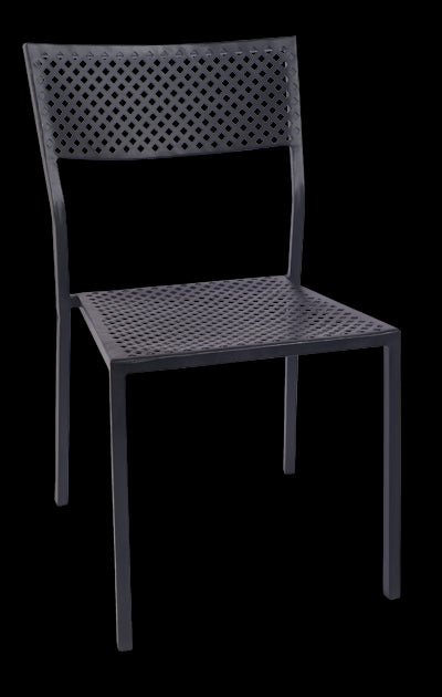 Black Iron Stackable Chair with Punched Square Hole, ERF-OF-05