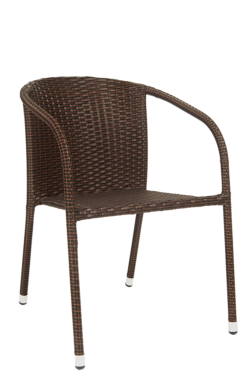 Steel Chair in Powder Coating Finish w/ Rattan in Black & Brown, ERF-OF-09