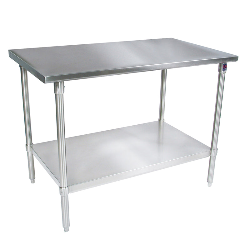 Stainless Steel Work Table Flat Top - Galvanized Base and Shelf