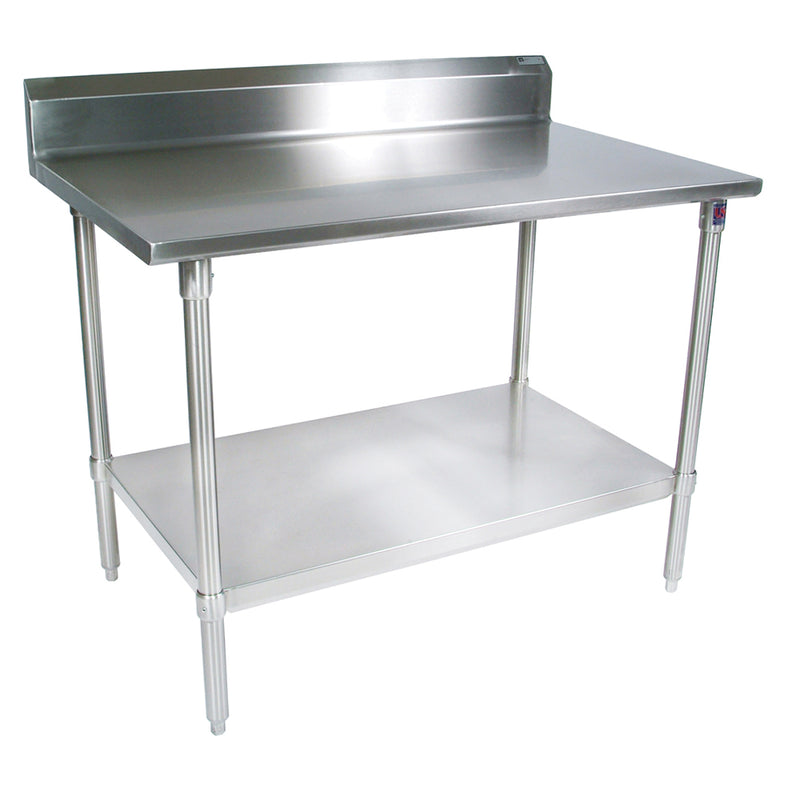 "Stainless Steel Work Table w/ 5"" High Rear Riser with Galvanized Base and Shelf from John Boos , ST6R5-GSK"