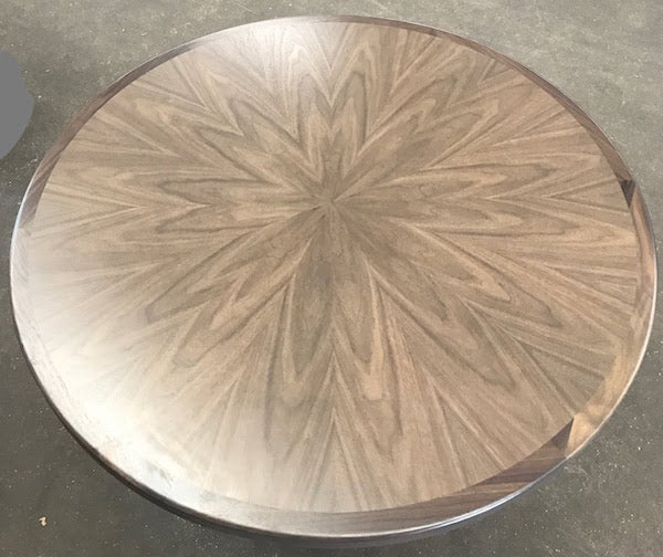 sunburst walnut vaneer round table top