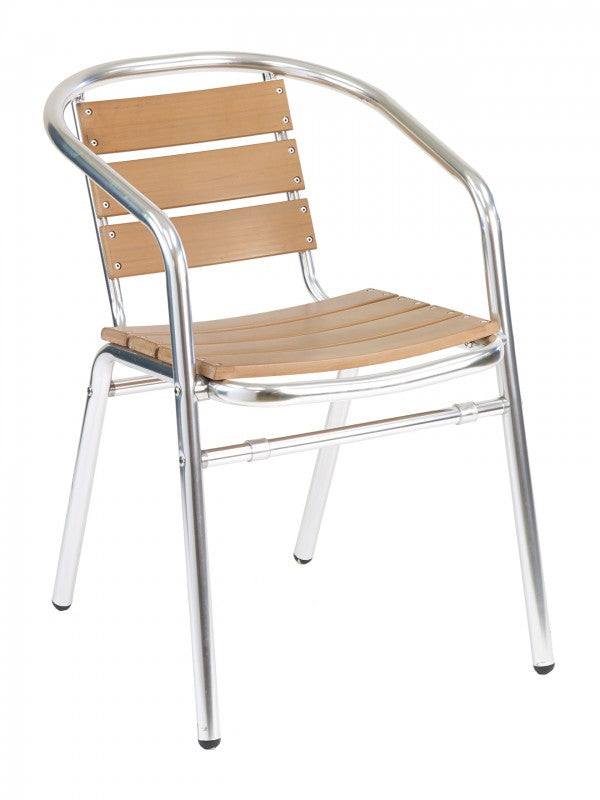 Aluminum Frame with Teak Back and Seat Stackable Arm Chair, Sand Key Series
