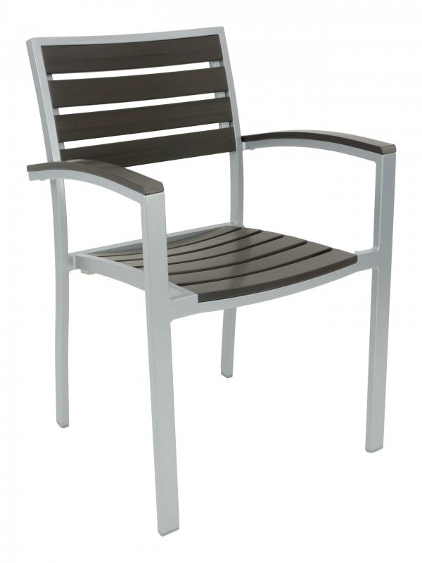 Aluminum Box Frame with Teak Back and Seat Arm Chair, Cedar Key Series