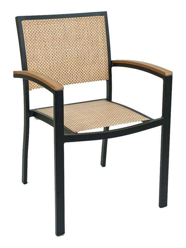 Aluminum Box Frame Stackable Outdoor Arm Chair, Textilene Back & Seat, South Beach Series