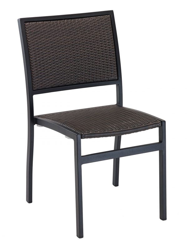 Aluminum Outdoor Stackable Side Chair, Polyethylene Weave back & Seat, St.  Augustine Series - Aluminum Outdoor Stackable Side Chair, Polyethylene Weave Back