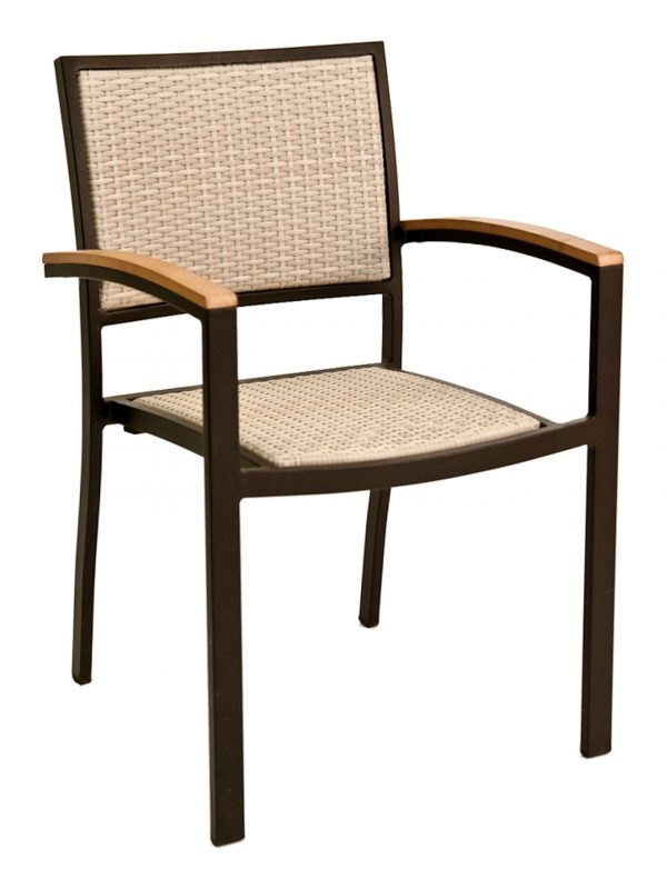 Aluminum Frame Stackable Outdoor Arm Chair, PE Weave Back & Seat, St. Augustine Series