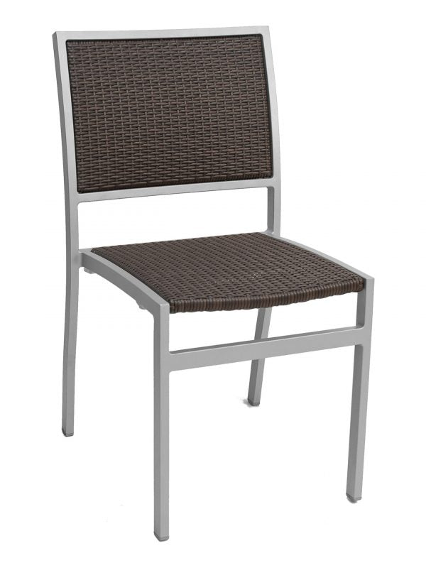Aluminum Outdoor Stackable Side Chair, Polyethylene Weave back & Seat, St. Augustine Series