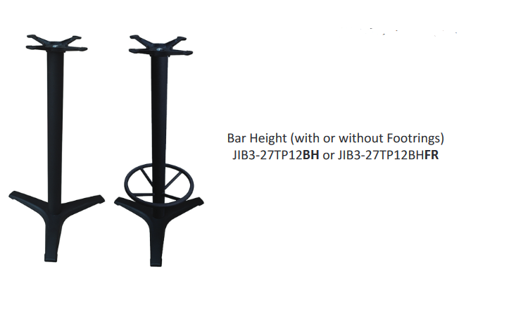 "Cast Iron Powder Coated 3-Prong ""B"" Series Table Bases"