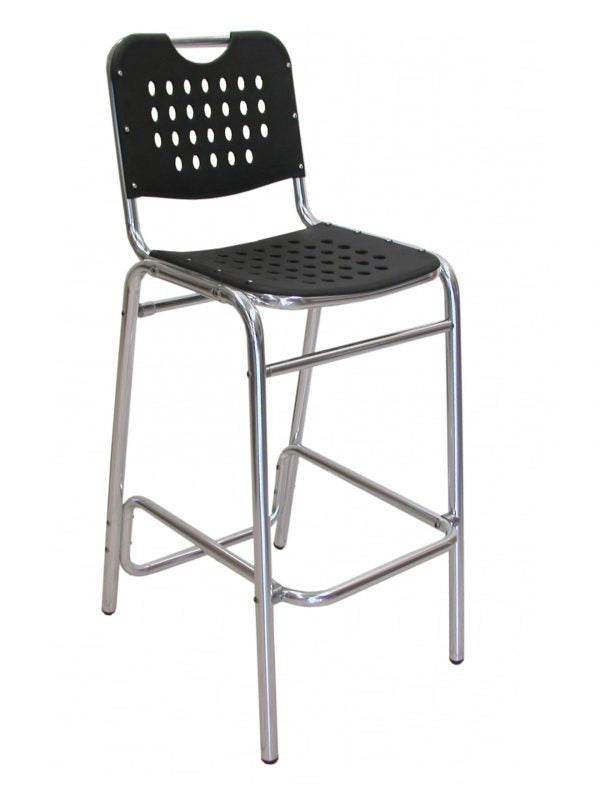 Aluminum Frame Stackable Outdoor Chair, Thermoplastic Back & Seat w/ Holes, Palm Beach Series