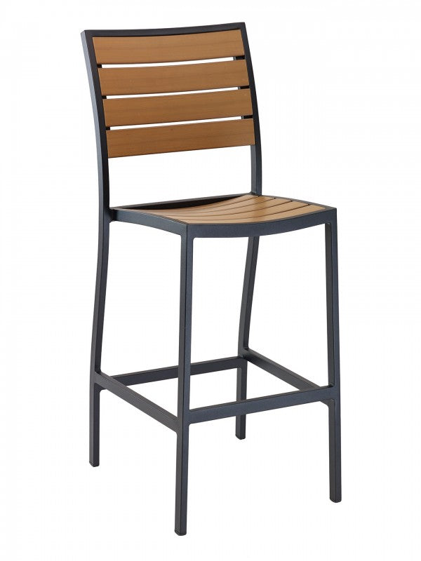 Aluminum Wall Box Frame with Teak Wood Back and Seat Barstool, Cedar Key Series