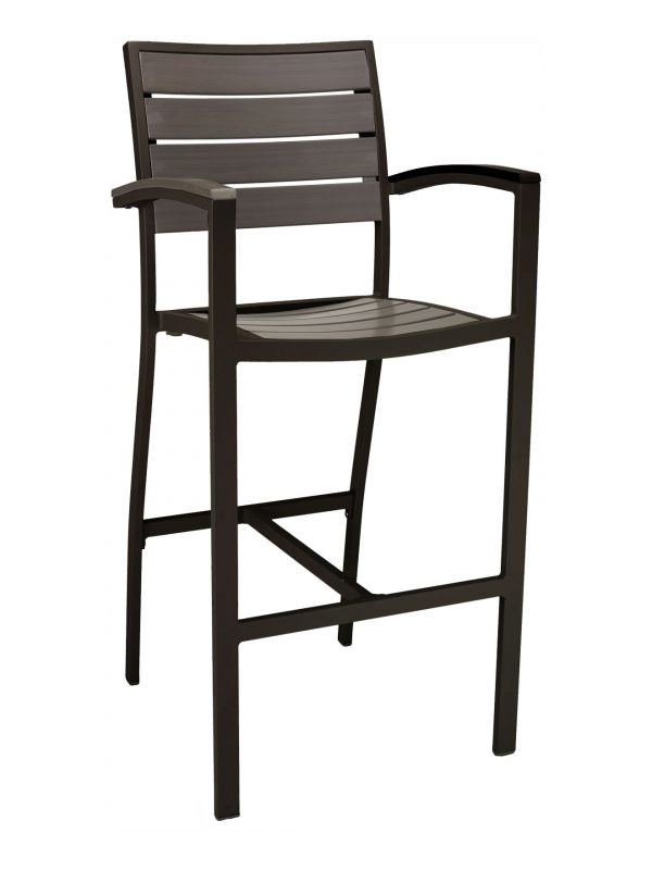 Aluminum Box Frame with Teak Back and Seat Arm Barstool, Cedar Key Series