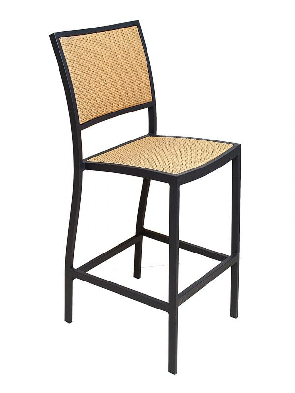 Powdered Coated Aluminum Frame Outdoor Barstool, PE Weaved Back and Seat, St. Augustine Series
