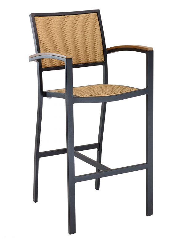 Powdered Coated Aluminum Outdoor Arm Barstool, PE Weave Back & Seat,  St. Augustine Series