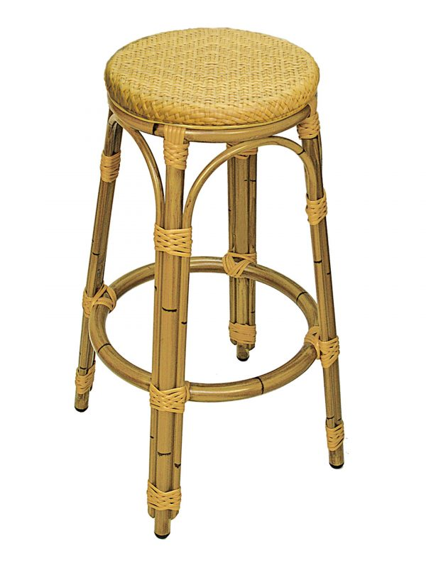 Aluminum Frame Bamboo-look Backless Barstool, Tuscana Series
