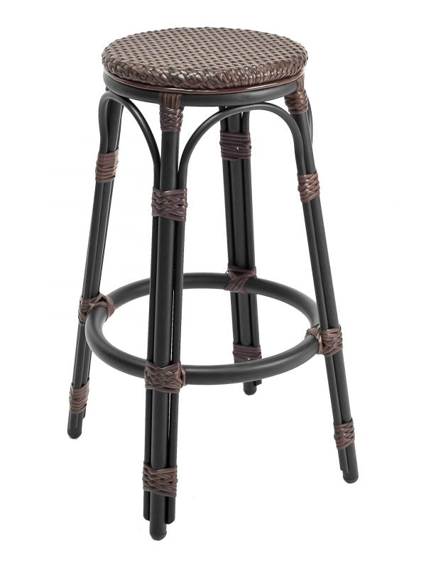 Aluminum Frame Bamboo-look Backless Barstool, Key Largo Series