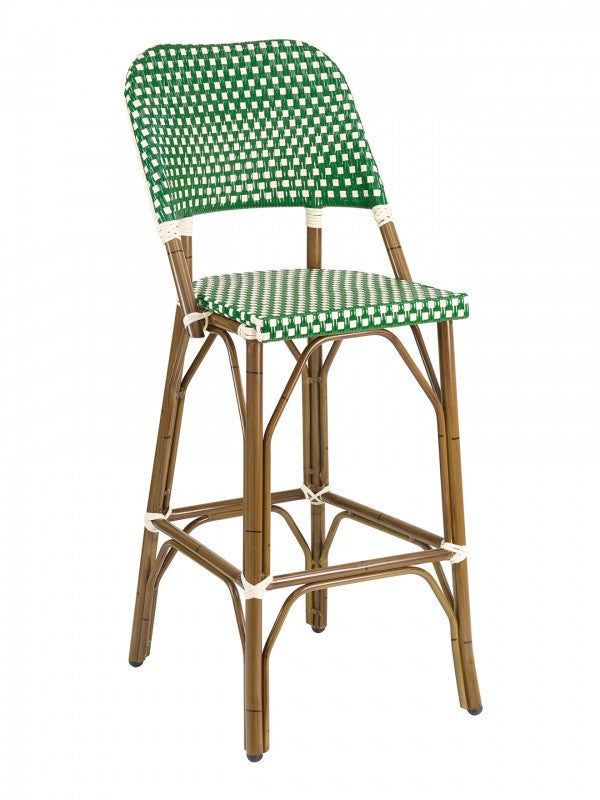 Aluminum Frame Bamboo Color with PE Weave Back and Seat Outdoor Barstool, Panama Series