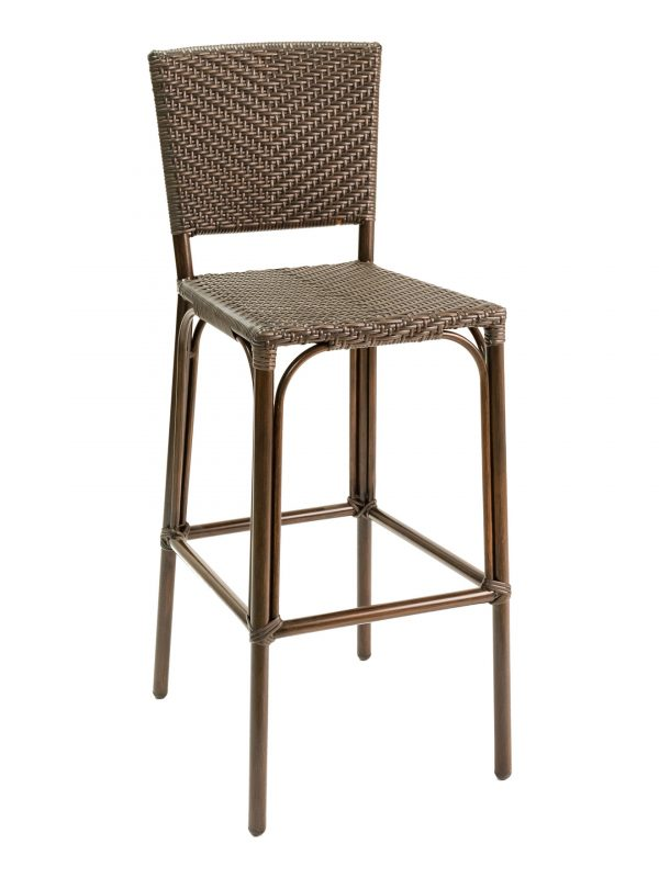 Bamboo-look Outdoor Barstool Chair, PE Weave Back & Seat, Havana Series
