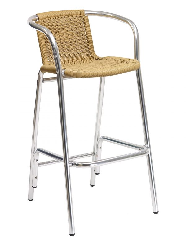Anodized Aluminum Outdoor Arm Barstool w/ PE Wired PE Weave Back & Seat, Key West Series