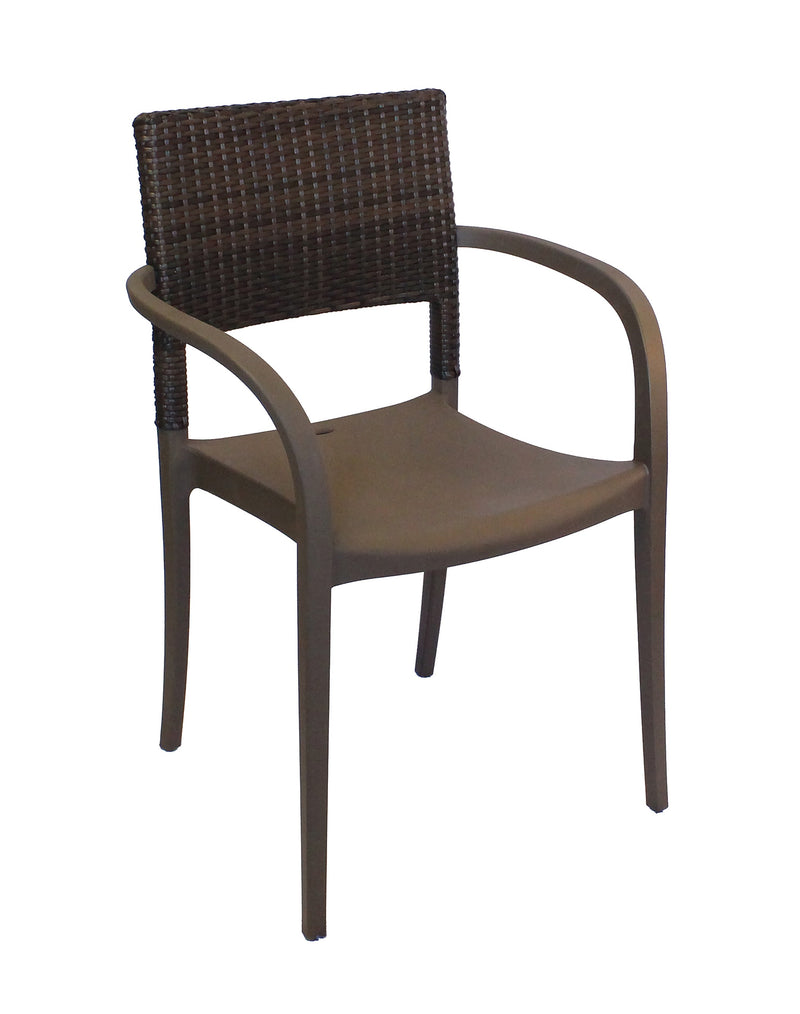 Java Wicker Armchair w/ Rattan Back
