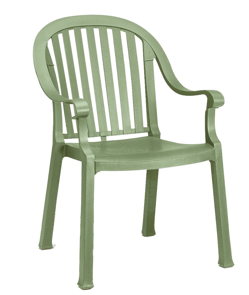 Colombo Slat Back Stacking Armchair Sage Green