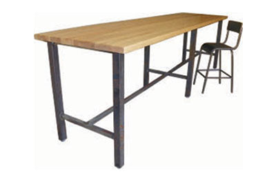 RFD Series Solid Wood Bar Height Community Table with Metal Base