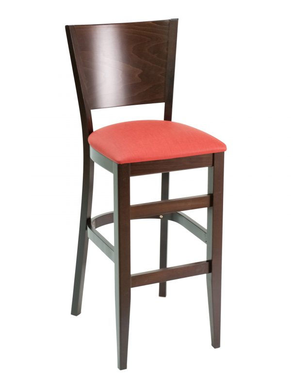 Beechwood Barstool with a Solid Back, FLSCON11B