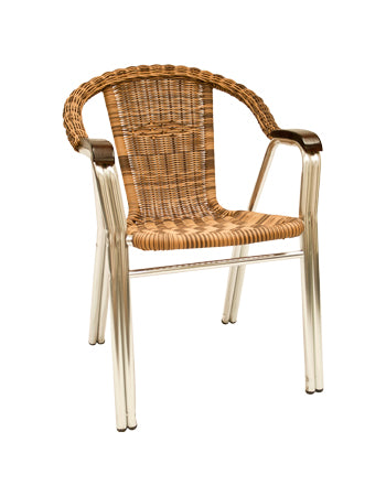 Aluminum/Synthetic Wicker Chair w/ Armrest, ERF-32