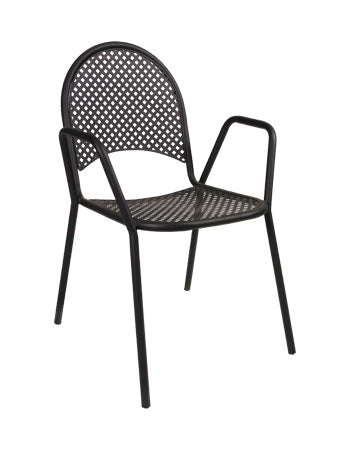 Black Metal Powder Coated Outdoor Chair, ERF-OF-01-B