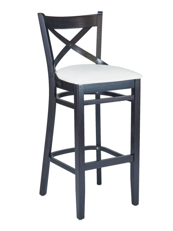 Beechwood Classic Cross Back Barstool in Walnut Finish, FLS16B