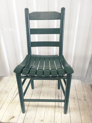 Green Davidson Chair w/ Wood Slat Curved Seat