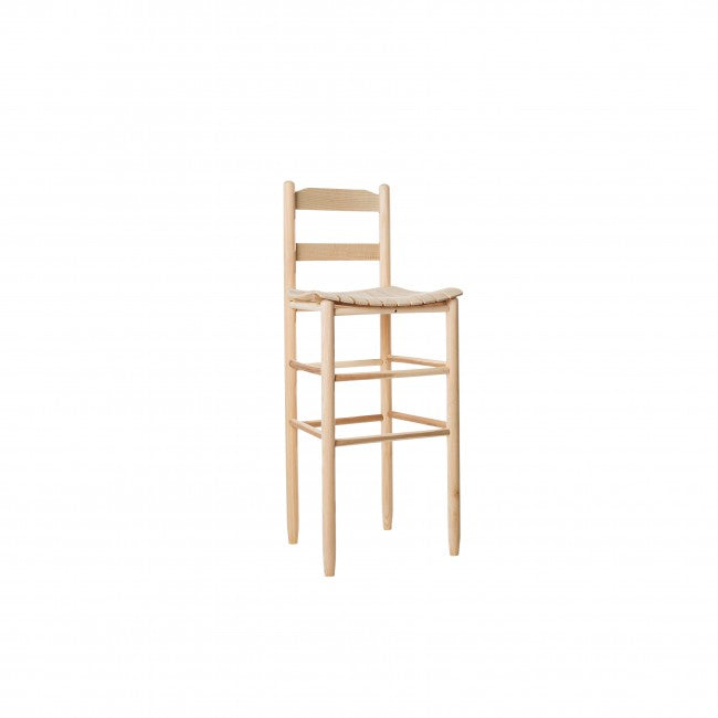 Beach Mountain Barstool with Curved Slat Woven Seat