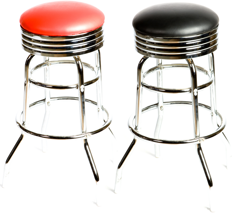 Retro Swivel Double Rung Barstool