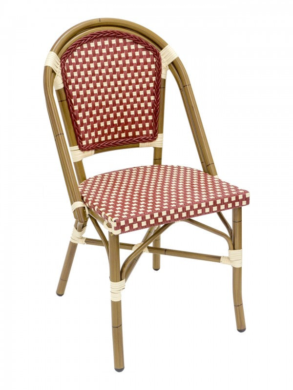 Aluminum Frame Bamboo Finish w/ PE Weave Back and Seat Stackable Outdoor Chair, Panama Series