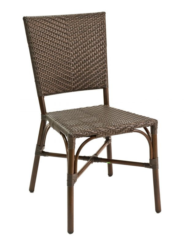 Bamboo-look Stackable Outdoor Side Chair, PE Weave Back & Seat, Havana Series