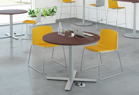 Sienna X Cafe Series Round Laminate Table with Metal Base