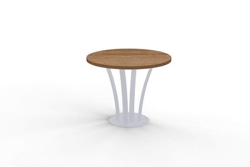 Structure round cherry lamniate table with metal fountain base