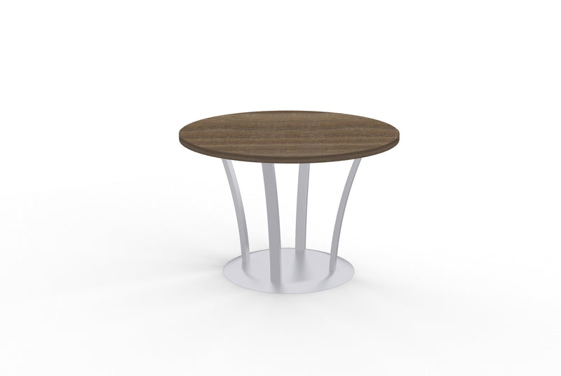 Structure round teak lamniate table with metal fountain base