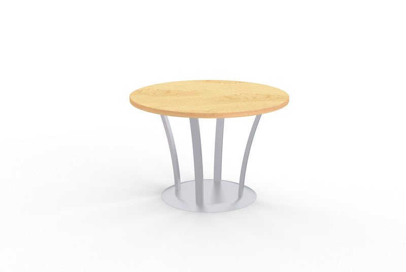 Structure round maple lamniate table with metal fountain base