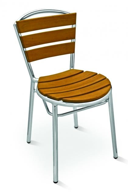 Aluminum Frame with Teak Wood Back and Sea Stackable Chair, Sand Key Series